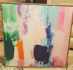 Framed Kirsten Jackson Abstract Artwork on Canvas Signed Lower Right 83 x 83