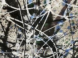 Gigantic Large Abstract Painting Mid Century Modern Jackson Pollock Style Art