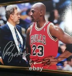 HAND SIGNED MICHAEL JORDAN & PHIL JACKSON WITH COA CHICAGO 8x10 FRAMED