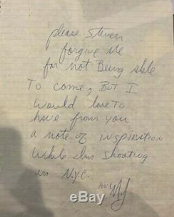 HISTORICAL Michael Jackson Signed Handwritten Letter To Steven JSA Guaranteed