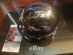 JSA COA LAMAR JACKSON JUSTIN TUCKER Signed Ravens Mini Helmet