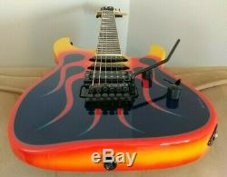 Jackson DK2 Dinky Blue Flames. MIJ. Hand painted. Signed by artist. WithGig Bag Case