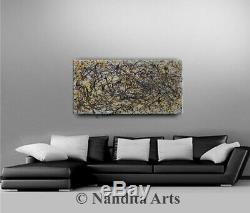 Jackson Pollock Gray Painting Canvas abstract Wall Hanging art Original artwork