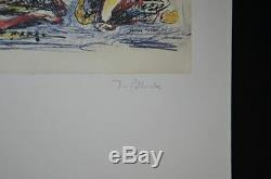 Jackson Pollock, Hand Signed Colorful Lithograph (pile of creatures), with COA
