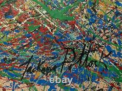Jackson Pollock House Painting On Canvas. Dedicated And Signed