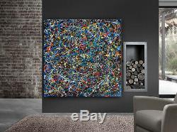 Jackson Pollock style blue modern original paintings Abstract Large wall Art