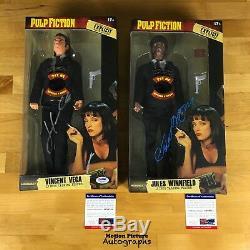 John Travolta & Samuel L Jackson Signed Toy Action Figure Pulp Fiction Psa Coa