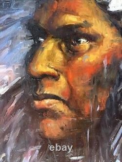 Lakota CHIEF Native American Indian western Jackson Hole ORIGINAL OIL PAINTING
