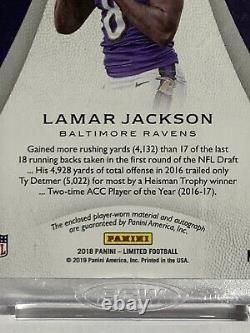 Lamar Jackson 2018 Limited RPA Rookie Patch Auto /75