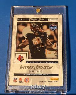 Lamar Jackson 2018 Luminance, RC Draft Day, Gold ON-CARD Auto
