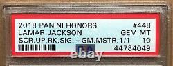 Lamar Jackson 2018 True 1/1 Holy Grail PSA 10 Auto Score Panini Honors L@@K