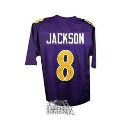 Lamar Jackson Autographed Baltimore Ravens Custom Football Jersey JSA COA