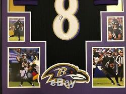 Lamar Jackson Autographed Custom Framed Baltimore Ravens Black Jersey JSA COA