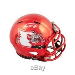 Lamar Jackson Autographed Louisville Cardinals Chrome Mini Football Helmet JSA