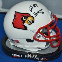 Lamar Jackson Autographed Louisville Cardinals Schutt Mini Helmet Heisman 16 Jsa