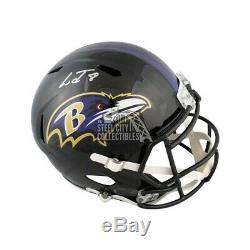 Lamar Jackson Autographed Ravens Speed Full-Size Football Helmet JSA Silver Ink