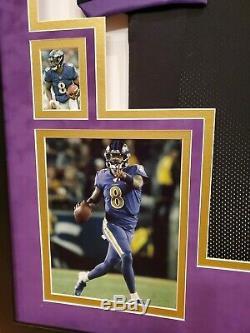 Lamar Jackson Autographed Signed Custom Baltimore Ravens Jersey Framed Suede JSA
