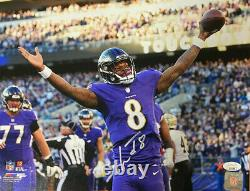 Lamar Jackson Baltimore Ravens Signaed Autographed 11x14 Photo Jsa Coa