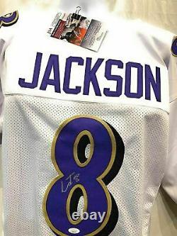 Lamar Jackson Baltimore Ravens Signed Autograph White Custom Jersey JSA Certifie