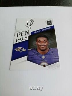 Lamar Jackson Rookie Auto Elite Pen Pals On Card Auto Baltimore Ravens See Pics