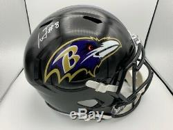 Lamar Jackson Signed Baltimore Ravens Full Size Speed Helmet COA Holo Heisman