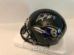Lamar Jackson Signed Baltimore Ravens Mini Helmet COA Hologram Heisman 2016
