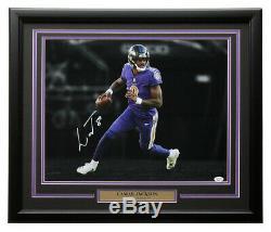 Lamar Jackson Signed Framed 16x20 Baltimore Ravens Spotlight Photo JSA