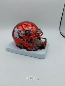 Lamar Jackson Signed Louisville Cardinals Chrome Mini Helmet HT'16 COA Holo Pic