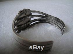 Lester Jackson Navajo Vintage Sterling Silver Lab Opal Cuff Bracelet