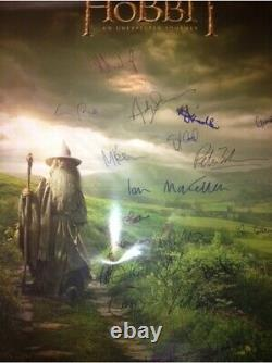 Lord Of The Rings THE HOBBIT poster Peter Jackson Elijah Wood cast signed x19