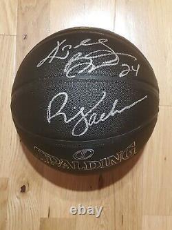Los Angeles Lakers Kobe Bryant Phil Jackson Signed Autographed Basketball COA