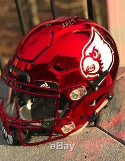 Louisville Cardinals Game Worn Used Football Helmet Signed Lamar Jackson JSA Ali