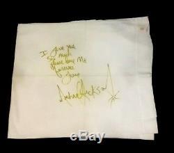 MICHAEL JACKSON SIGNED AUTOGRAMM NAPKIN NO FEDORA NO GLOVE Pillow Case very Rare