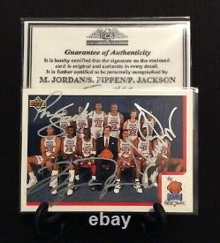 MICHAEL JORDAN/SCOTTIE PIPPEN/PHIL JACKSON/ TRIPLE AUTOGRAPHED CARD WithC. O. A