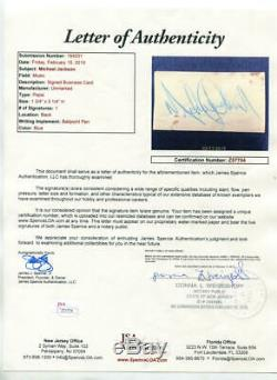 Michael Jackson 1980's Pepsi Business Card, Signed. JSA