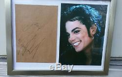 Michael Jackson Authenic Autographed Signed Paper Envelope Color Photo in Frame