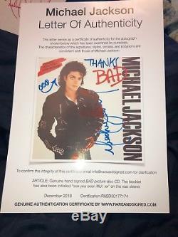 Michael Jackson Autographed And Muti-Inscribed BAD CD! LOA! Rare