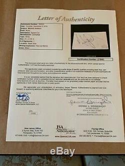 Michael Jackson Autographed Framed Photograph with Signed Cut 3 x 4 7/8 JSA LOA