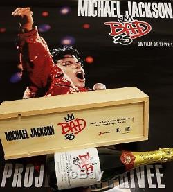 Michael Jackson BAD25 CHAMPAGNE VIP PARTY +POSTER smile rare promo fedora signed