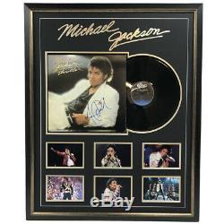 Michael Jackson Hand Signed Framed Thriller Vinyl Album Record Certificate Bad