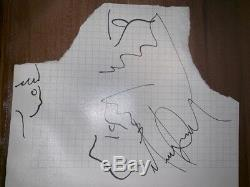 Michael Jackson Hand-Signed Small DRAWINGS Sketch on Cut ca. 17x13.5cm AUTOGRAPH
