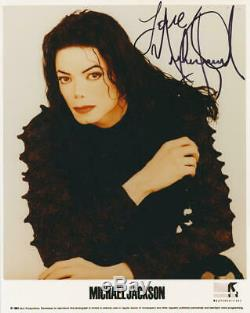 Michael Jackson Signed 8x10 Photo, Inscribed Love. BAS Beckett