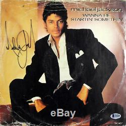 Michael Jackson Signed Album Cover With Vinyl Something Autographed BAS #A10235