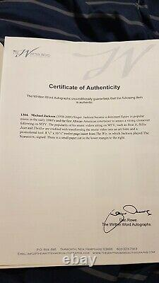 Michael Jackson signed autograph The Wiz Program Thriller King of Pop