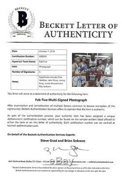 Michigan'FAB FIVE' signed 8x10 PHOTO Beckett #A88834 LOA Webber Rose Jackson