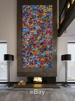 Multicolored abstract painting Jackson Pollock Style, Contemporary wall art