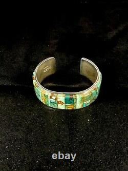 Native American Sterling Silver Inlay Turquoise Bracelet Yazzie 8760