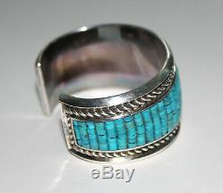 Navajo Sterling Silver & Turquoise Cuff Bracelet Signed by Artist D. A. Jackson