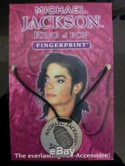 Official Michael Jackson Fingerprint Necklace Pendant 1998 History Signed 167
