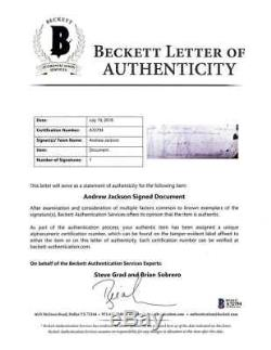 President Andrew Jackson Signed Autographed 2.5x8 Document Clipping Beckett BAS
